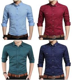 YTD Men Cotton Casual Slim Fit Long Sleeve Button Down Dress