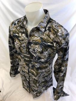 Men BARABAS Designer Shirt GRAY GEOMETRIC MULTI COLOR CLASSI