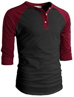 H2H Men Fashion Slim Fit Raglan Baseball 3/4 Sleeve Henley P