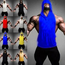 Men Gym Hoodie Shirt Muscle Sleeveless Tank Top Hooded Bodyb