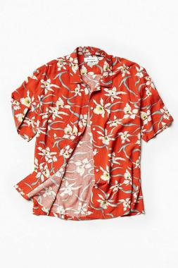 Mens Hawaiian Shirt Tropical Luau Beach Aloha Party Red Cari