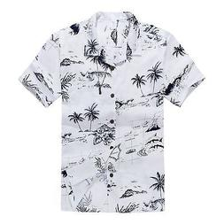 Men Hawaiian Shirt Cruise Tropical Luau Beach Aloha Party Wh