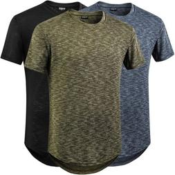 Men Jacquard Stylish T Shirt Swag Short Sleeve Curve Hem Hip