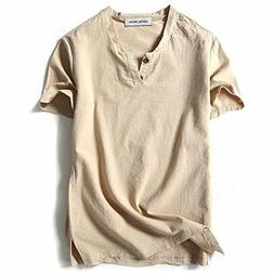 LOCALMODE Men Linen and Cotton V Neck Short Sleeve T Shirts