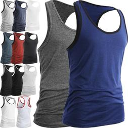 Men Muscle Tank Top T Shirt Ribbed Fashion Sleeveless Gym Te