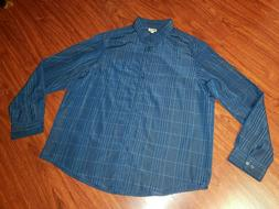 Haggar Men's 2XLT Button Front Blue Long Sleeve 100% Polyest