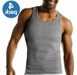 Men's Hanes 4Pk Color A-shirt Tagless Undershirt Tank Top Wi