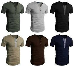 H2H Men's Basic Casual Slim Fit Short Sleeve Henley T-Shirts