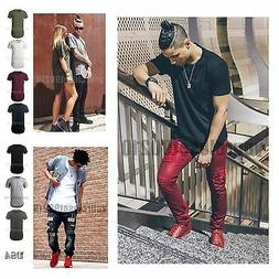 Men Basic T SHIRT Extended Long Elongated Fashion Casual Cre