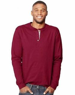 Hanes Men's Beefy-T Long-Sleeve Henley - Tagless - 6 COLORS