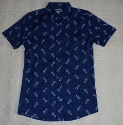 Men's Haggar blue shirt w/ Hawaiian flower & girl design