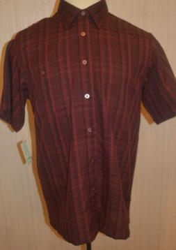 Men's Haggar Burgundy Black Plaid Short Sleeve Button Front