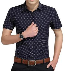 YTD Men's Business Casual Short Sleeves Dress Shirts