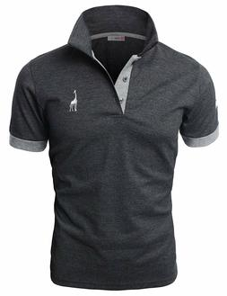 H2H Men's Casual Contrast Colored With Embroidered Giraffe P