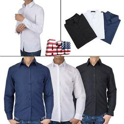 Men's Casual Dress Shirt Slim Fit T-Shirts Formal Solid Tops
