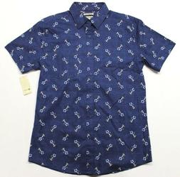 Men's Haggar Casual Island Ease Short Sleeve Shirt  Navy Hul