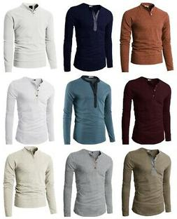 H2H Men's Casual Slim Fit Basic Henley Long Sleeve T-Shirt T