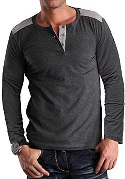 YTD Men's Casual Slim Fit Short Sleeve Henley T-Shirts Cotto
