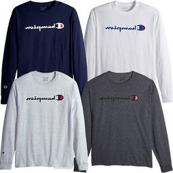 Champion Men's Classic Jersey Long Sleeve Script T-Shirt Lim