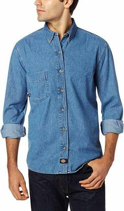 Dickies Men's Denim Work Shirt Long-Sleeve Button Up Stonewa