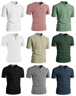 H2H Men's Fashion Casual Front Placket Basic Short Sleeve He