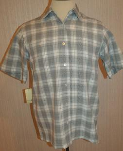 Men's Haggar Gray & White Plaid Short Sleeve Button Front Sh