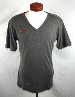 H2H Men's Gray Slim Fit V-neck T-Shirt Style #JDSK16 Size XL