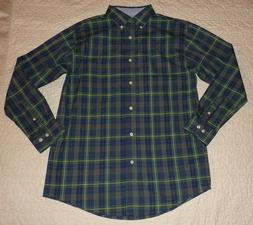 Men's Haggar green and blue plaid button front shirt       N