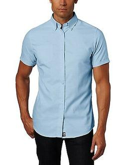 Men's Lee Blue Oxford Shirt Button Down Short Sleeve Uniform