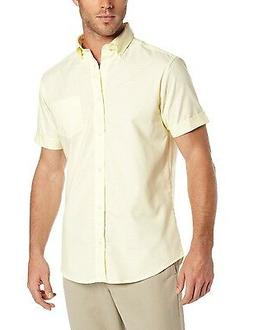 Men's Lee Yellow Oxford Shirt Button Down Short Sleeves Unif