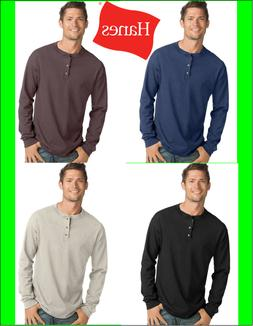 Hanes Men's Long-Sleeve Henley Shirt Beefy-T pure cotton 3 b