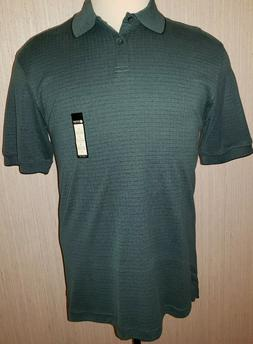 Men's Haggar Mallard Green Plaid Short Sleeve Polo Shirt Top