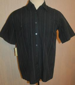 Men's Haggar Navy Blue Stripe Short Sleeve Button Front Shir