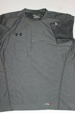 Men's new Under Armour Golf fitted Heat Gear shirt Gray Size