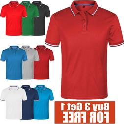 Men's Polo Shirt Dri-Fit Golf Sports Cotton T Shirt Jersey S