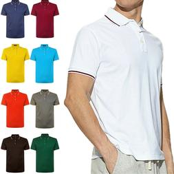 Men's Polo Shirt Dri-Fit Golf Sports Striped Cotton T Shirt
