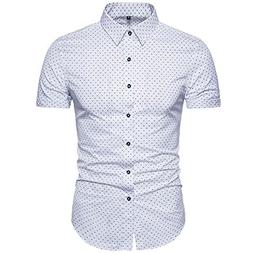 MUSE FATH Men's Printed Dress Shirt-Cotton Casual Short Slee