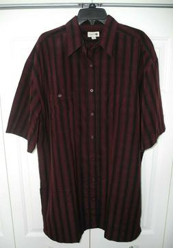Haggar Men's Short Sleeve Button Up Maroon/Black Striped Shi