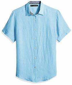Nautica Men's Short Sleeve Classic Fit Solid Linen Button Do