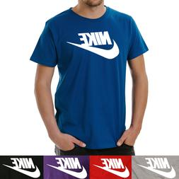 Nike Men's Short Sleeve Logo Swoosh Printed T-Shirt Red Blac