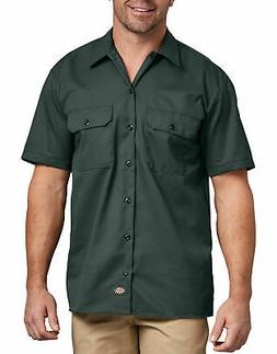 DICKIES MEN'S SHORT SLEEVE WORK SHIRT HUNTER GREEN 1574GH