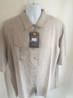 HAGGAR Men's Size XL Striped Shirt Short Sleeve Button Up NW
