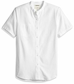 Goodthreads Men's Slim-Fit Short-Sleeve Band-Collar Oxford S