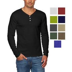 Alta Men's Slim Fit V Neck Long Sleeve Cotton T-Shirt with 3