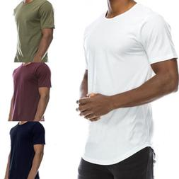 Men's T-Shirt Long Extended Casual Fashion T-Shirt Basic Cre