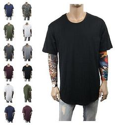 Men's T-Shirt Lot Long Extended Basic Fashion Tee Casual Tee