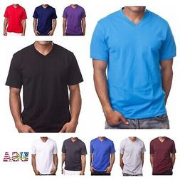 Men's T-Shirt HEAVY WEIGHT Plain V-Neck BIG AND TALL Hipster