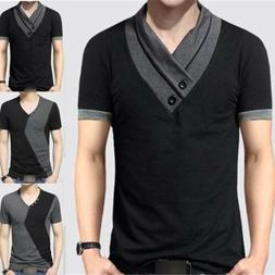 Men's Tee T-shirt Short Sleeve Shirt V-Neck Slim Sport Casua