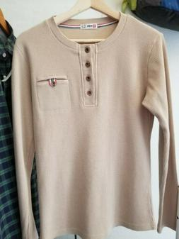 H2H Men's Thermal Waffle Knit Long Sleeve Shirt Size S Small