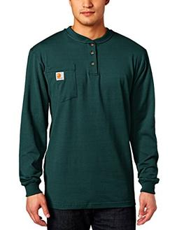 Carhartt Men's Workwear Pocket L/S Henley, Hunter Green, 3X-